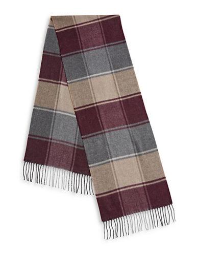 London Fog Colourblock Fringe Scarf-RED-One Size