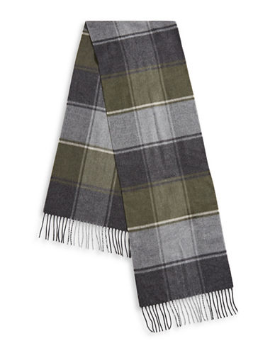 London Fog Colourblock Fringe Scarf-GREEN-One Size