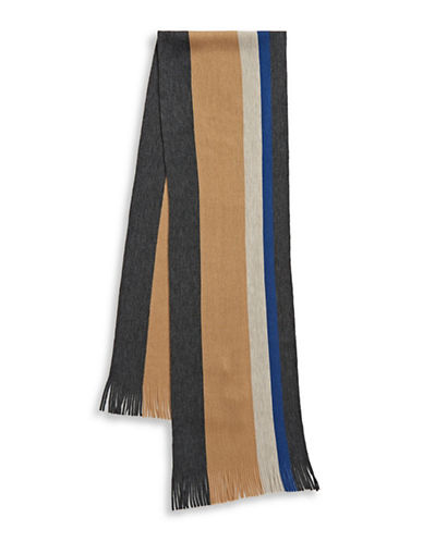 London Fog Bold Stripe Raschel Knit Scarf-BEIGE-One Size
