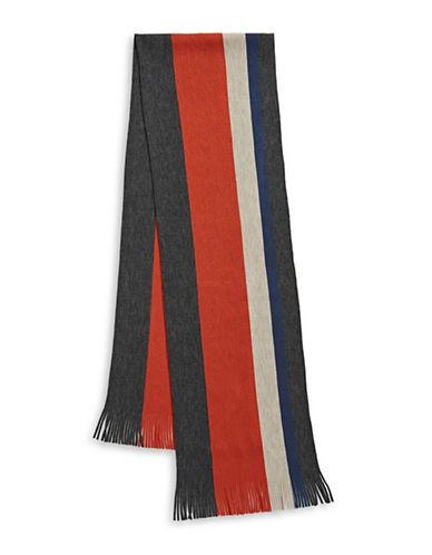 London Fog Bold Stripe Raschel Knit Scarf-RUST-One Size