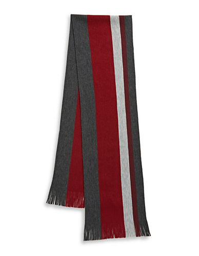 London Fog Bold Stripe Raschel Knit Scarf-RED-One Size