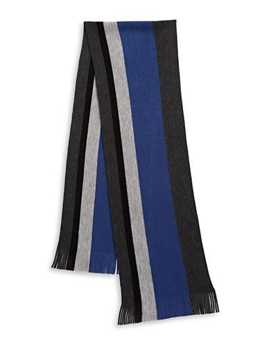London Fog Bold Stripe Raschel Knit Scarf-BLUE-One Size