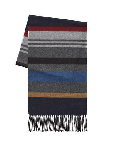 London Fog Horizontal Stripe Scarf-NAVY-One Size