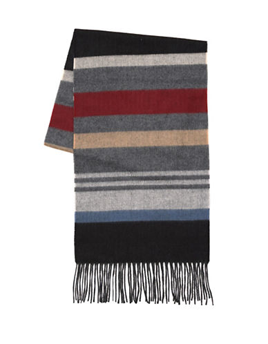 London Fog Horizontal Stripe Scarf-BLACK-One Size