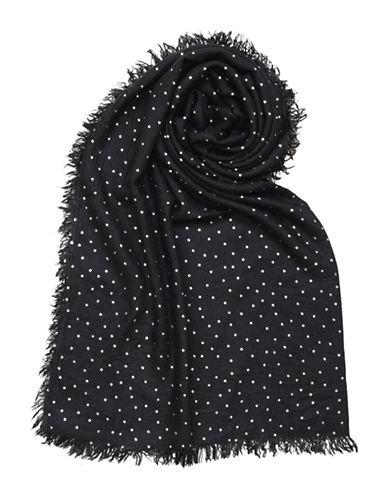 Lord & Taylor Foil Print Stars Blanket-BLACK-One Size
