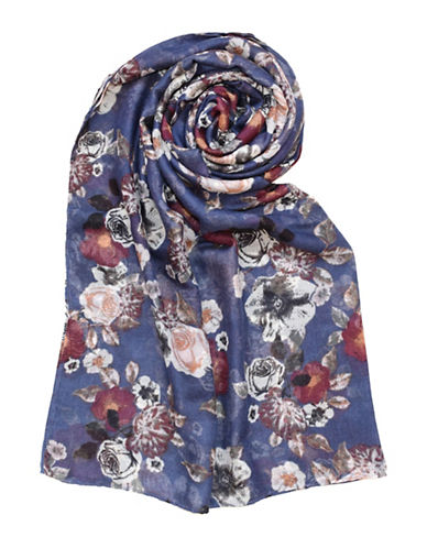 Lord & Taylor Folklore Floral Blanket-NAVY-One Size