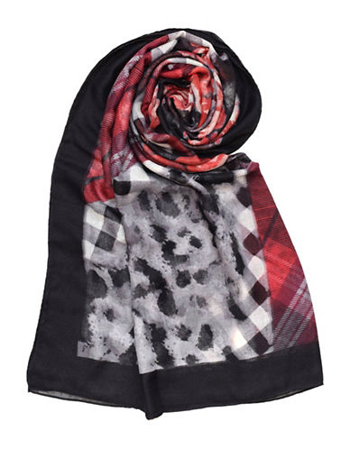 Lord & Taylor Plaid Rose Blanket-RED-One Size