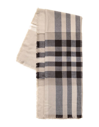 Lord & Taylor Exploded Fraas Plaid Square Scarf-TAUPE-One Size