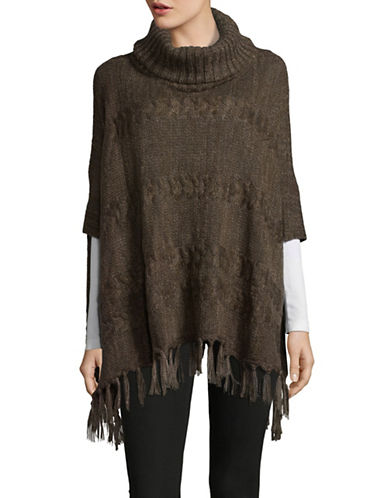 Lord & Taylor Cable-Knit Turtleneck Poncho-OLIVE-One Size