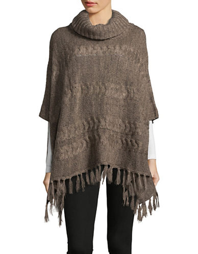 Lord & Taylor Cable-Knit Turtleneck Poncho-TAUPE-One Size