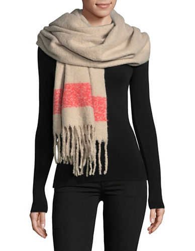Lord & Taylor Striped Border Scarf-TAUPE-One Size