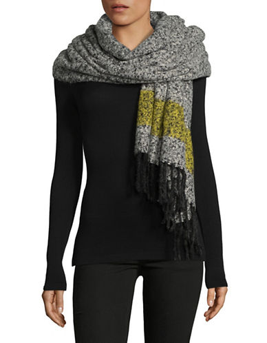 Lord & Taylor Striped Border Scarf-BLACK-One Size