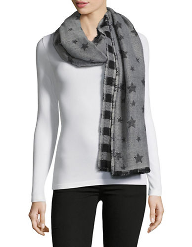 Lord & Taylor Reversible Star And Check Scarf-BLACK-One Size