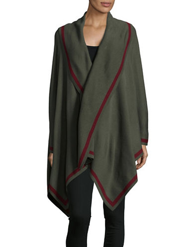 Lord & Taylor Striped Shawl Poncho-GREEN-One Size