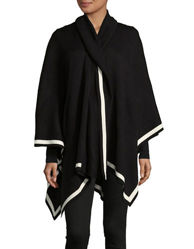 Lord & Taylor Striped Shawl Poncho-BLACK-One Size