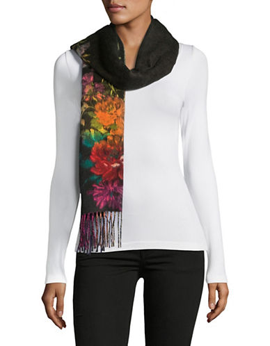 Lord & Taylor Stem Floral Scarf-BLACK-One Size
