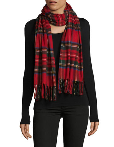 Lord & Taylor Tartan Wrap Scarf-RED-One Size