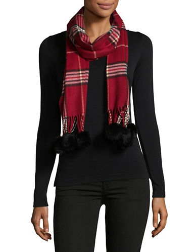 Lord & Taylor Rabbit Fur-Trim Plaid Scarf-RED-One Size