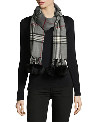 Lord & Taylor Rabbit Fur-Trim Plaid Scarf-GREY-One Size