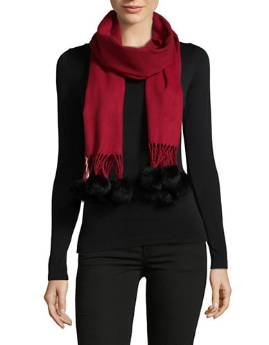 Lord & Taylor Faux Fur-Trim Scarf-RED-One Size
