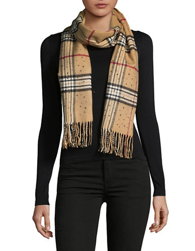 Lord & Taylor Jewelled Fraas Plaid Scarf-CAMEL-One Size