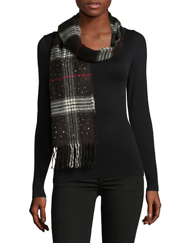 Lord & Taylor Jewelled Fraas Plaid Scarf-BLACK-One Size