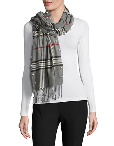 Lord & Taylor Faux Pearl Plaid Scarf-GREY-One Size
