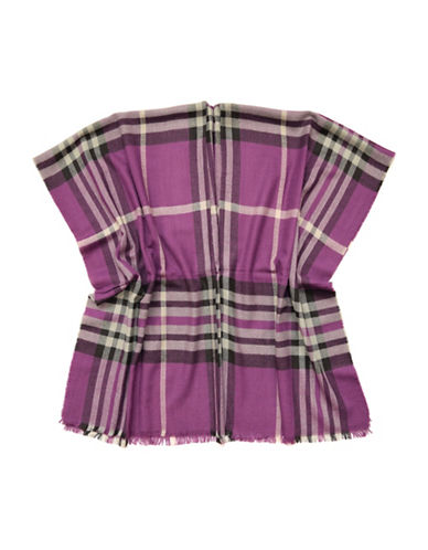 Lord & Taylor Fraas Plaid Poncho-PURPLE-One Size