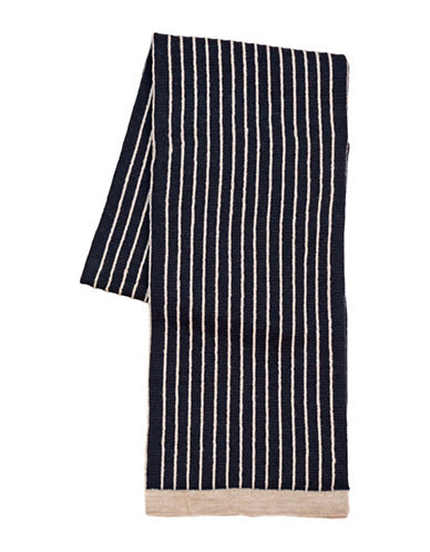 Black Brown 1826 Striped Knit Scarf-NAVY-One Size