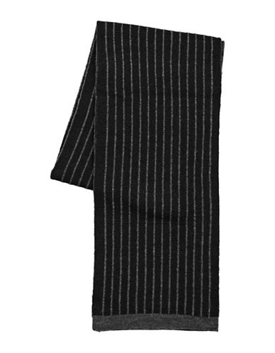 Black Brown 1826 Striped Knit Scarf-BLACK-One Size