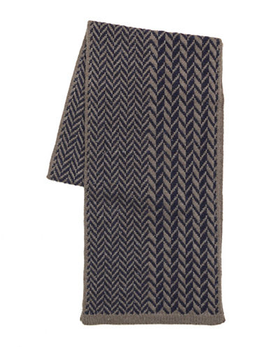 Black Brown 1826 Wool-Blend Chevron Scarf-NAVY-One Size