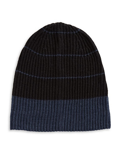 London Fog Stripe Fleece Tuque-BLUE-One Size