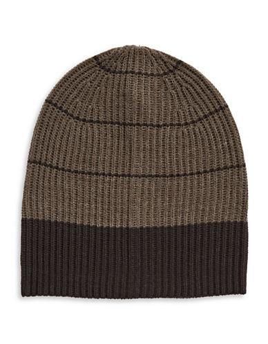 London Fog Stripe Fleece Tuque-BEIGE-One Size
