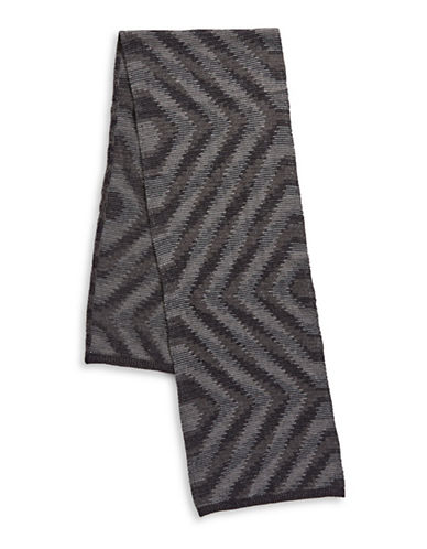 London Fog Geometric Wave Scarf-CHARCOAL-One Size