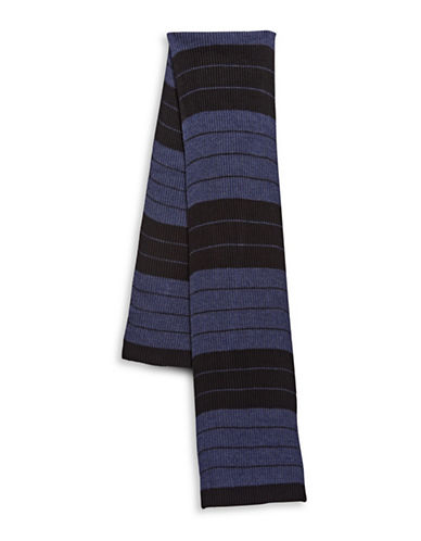 London Fog Knitted Stripe Scarf-BLUE-One Size