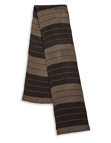 London Fog Stripe Ribbed Scarf-BEIGE-One Size