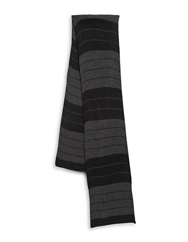 London Fog Knitted Stripe Scarf-CHARCOAL-One Size