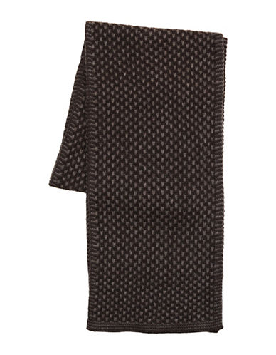 Black Brown 1826 Reversible Honeycomb Scarf-CHARCOAL-One Size