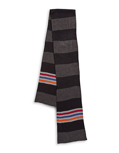 London Fog Block Stripe Scarf-CHARCOAL-One Size