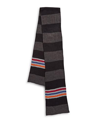 London Fog Block Stripe Scarf-CHARCOAL-One Size