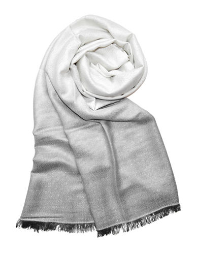 Lord & Taylor Allover Lurex Dip Dye Wrap Scarf-IVORY-One Size