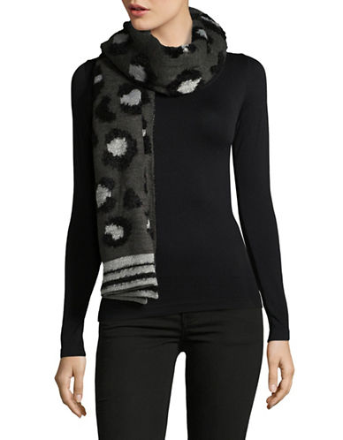 Lord & Taylor Leopard & Stripe Scarf-BLACK-One Size