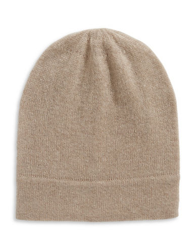 Lord & Taylor Cashmere Tuque-TAUPE-One Size