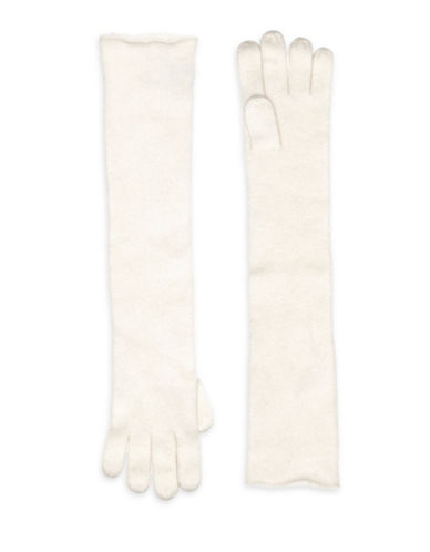 Lord & Taylor Cashmere Long Gloves-IVORY-One Size