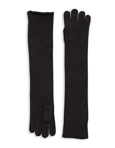 Lord & Taylor Cashmere Long Gloves-BLACK-One Size