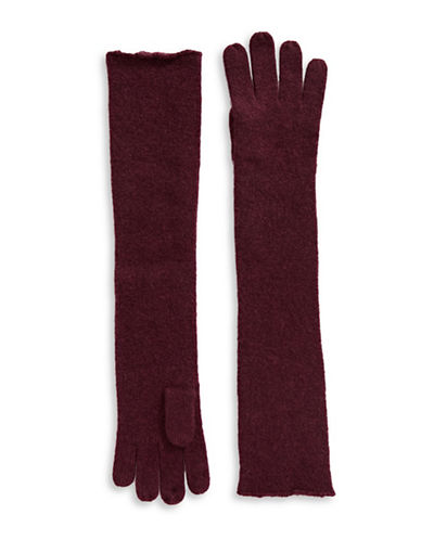 Lord & Taylor Cashmere Long Gloves-BURGUNDY-One Size