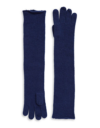 Lord & Taylor Cashmere Long Gloves-NAVY NIGHT-One Size