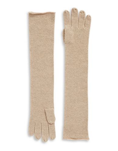 Lord & Taylor Cashmere Long Gloves-TAUPE-One Size