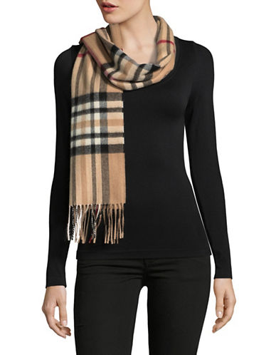 Lord & Taylor Plaid Fringed Cashmere Scarf-CAMEL-One Size