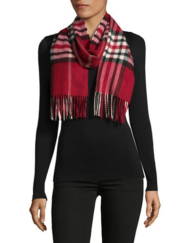Lord & Taylor Plaid Fringed Cashmere Scarf-RED-One Size